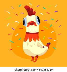 Vector illustration with white cute rooster and confetti isolated on yellow background. Holiday card with funny cartoon character - the symbol of 2017. Concept for design t-shirt print, poster