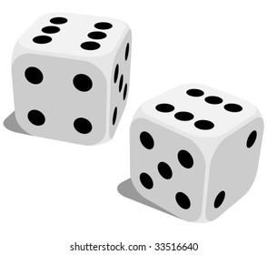 Vector illustration of white dice with double six roll. No gradients or effects.