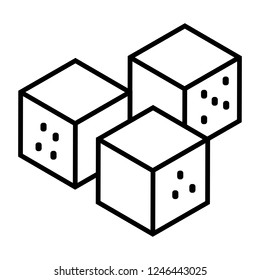 Vector illustration of a white dice game icon. Isolated from white background. Online casino gambling theme templates for web applications, graphics, advertising information, simulations.
