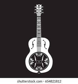 Vector illustration of white dobro, american resonator guitar isolated on black background. Flat style design.