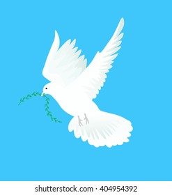 Vector illustration of white dove flying way up in a blue sky with green twig in beak. Symbol of peace