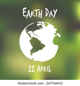 Vector illustration. White earth globe with blured green background. Earth day poster. Ecology concept.