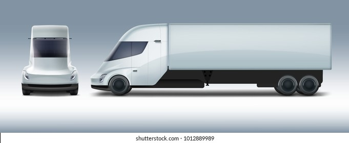 Vector illustration of white electric truck semi in modern design. Isolated on background