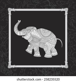 Vector illustration of white elephant silhouette with grey ethnic tribal ornament on black background with decorative carved frame