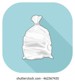 A vector illustration of a white full bin Flat Icon. White Tied Bin Sack internet Icon Plastic Bag waste Concept.