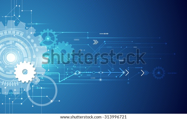 Vector illustration white gear wheel on circuit board, Hi-tech digital technology and engineering, digital telecoms technology concept, Abstract futuristic- technology on blue color background