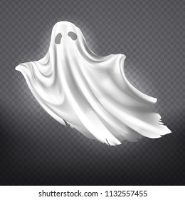 Vector illustration of white ghost, phantom silhouette isolated on transparent background. Halloween spooky monster, scary spirit or poltergeist flying in night. Mystic creature without body