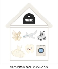 Vector illustration of a White house . Learning colors for children. An image of white objects - an airplane, a dress, a washing machine, a crystal, skates, a tooth.