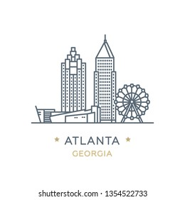 Vector illustration, white isolated. Line icon of famous and largest city of USA. City Atlanta, state of Georgia. Outline icon for web, mobile and infographics. Landmarks and famous building