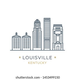 Vector illustration, white isolated. Line icon of famous and largest city of USA. City Louisville, state of ‎Kentucky. Outline icon for web, mobile and infographics. Landmarks and famous building