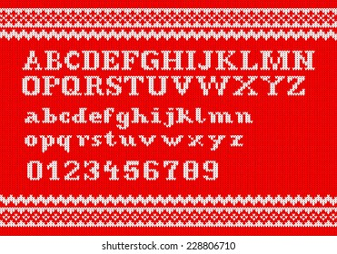 vector illustration of a white knitting alphabet on red background
