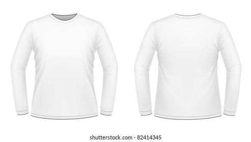 Vector illustration of white long-sleeved T-shirt
