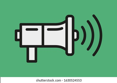A vector illustration of white megaphone with black outlines on green background. Social media shoutout icon.