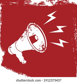 Vector illustration of a white megaphone on a red background in grunge style