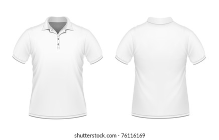 Vector illustration of white men's polo
