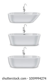 Vector illustration of white modern bathtubs of different types and shapes, realistic set double ended and slipper tubs isolated on white background