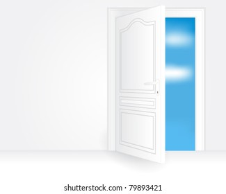 Vector illustration of a white open door in an empty room