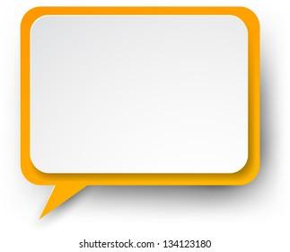 Vector illustration of white and orange paper rectangular speech bubble. Eps10.