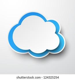 Vector illustration of white paper cloud. Eps10.