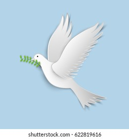 vector illustration of white paper cutout dove with a green twig olive on blue sky.