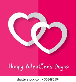 Vector illustration white paper hearts on pink background for Valentine's Day.