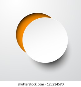 Vector illustration of white paper notched out round bubble. Eps10.
