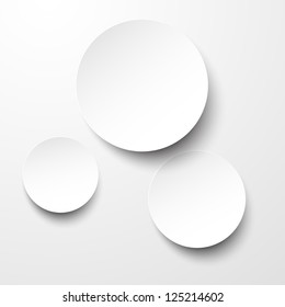 Vector illustration of white paper round notes. Eps10.