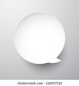 Vector illustration of white paper round speech bubble. Eps10.
