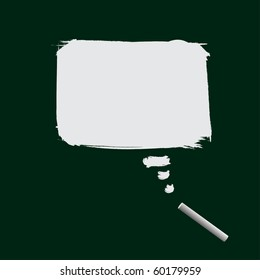 Vector - Illustration of a white piece of chalk with a rectangle word bubble scribble on the blackboard