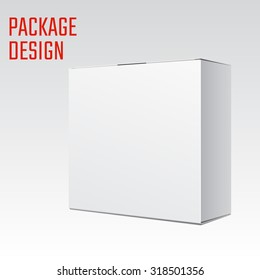 Vector Illustration of White Product Cardboard Package Blank Box. Clear Mockup Template. Isolated Packaging.
