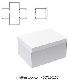 Vector Illustration of White Product Cardboard Package Box for Design, Website, Banner. Mockup Element Template for Your Brand or Product. White box Isolated on White Background