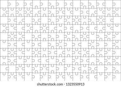 Vector illustration of white puzzle . (every piece is a single shape)