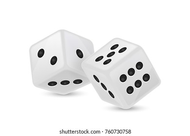 Vector illustration of white realistic game dice icon in flight closeup isolated on white background. Casino gambling design template for app, web, infographics, advertising, mock up etc