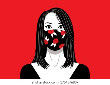 Vector illustration, in white, red and black color, of a medium shot of a beauty woman, with black hair and wearing a flowers print face mask.