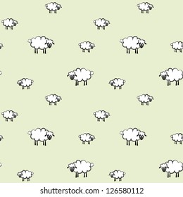 vector illustration of a white sheep pattern, on light green background