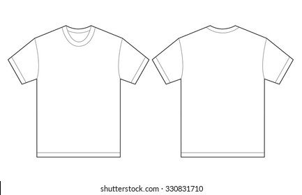 Vector illustration of white shirt, isolated front and back design template for men