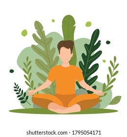 Vector illustration white sits in a lotus position in nature and midses. Keeps calm and even breathing. Corporate illustration for a yoga studio, medatation center, outdoor sports. The main asana in