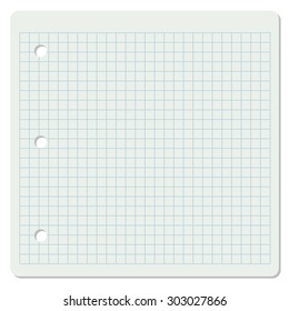 Vector illustration of white squared school paper sheet.