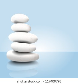 Vector illustration of a white stack of zen spa stones