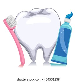 Vector Illustration of white tooth, toothbrush and Toothpaste