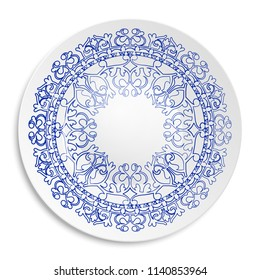 Vector illustration of white tray with blue floral ornament