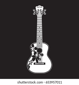 Vector illustration of white ukulele isolated on black background. Hawaiian guitar, string musical instrument in flat style.