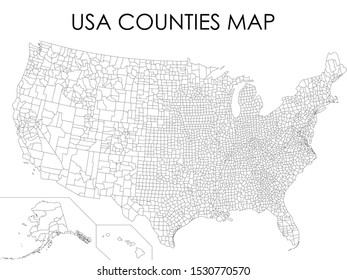 Vector Illustration of White USA Counties Map