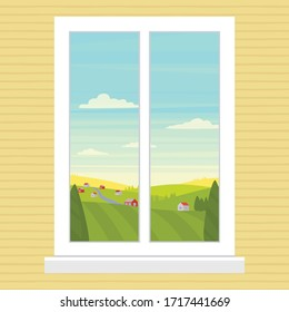 Vector illustration of a white window and natural landscape. Cartoon flat drawing view of the farm, fields and sky. Sunny day outside the window background picture.