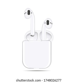 Vector illustration of white wireless headphones in a case on a white background.