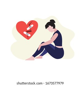 Vector illustration of white woman sits on the floor and  around broken heart with crack and patch. Depression, harrassment, abuse or bullying concept.