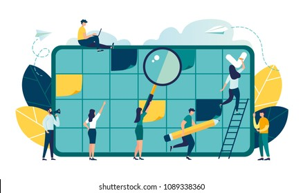 Vector illustration, whiteboard with schedule plans, work planning, daily routine, people filling out the schedule in the table