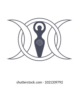 Vector illustration for Wiccan community: Spiral Goddess also known as Luna or Triple Goddess symbol. Symbol of the waxing, full and waning moon and spiral.