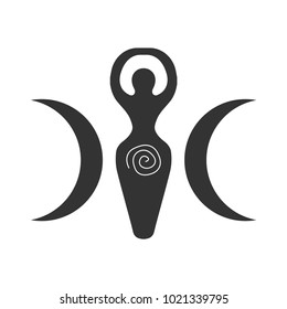 Vector illustration for Wiccan community: Spiral Goddess also known as Luna or Triple Goddess symbol. Triple Spiral deity symbol.