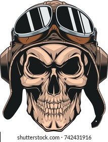 Vector illustration of a wicked skull in the pilot's helmet, on a white background
